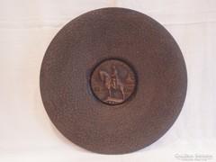 Szent István Király bronz falitál 1630 gramm , 30 cm