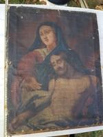 Ősöreg festmény, olaj, vászon, feszítőkerete is öreg. 60x70 cm környékén.