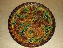Gyönyörű mázas kerámia falitányér 25 cm (ap)