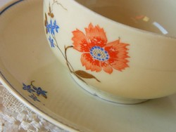 Antik virágos csésze és alátét kistányér, szett