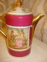 Nagyon szép bordó  Romantikus jelzett Alt wien  lüszteres porcelán teáskanna