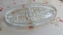 Antik öntött üveg kínáló,ólomkristály tálca eladó!
