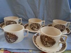 5 személyes angol fajansz majolika teázó készlet ful art deco XX sz. közepéről