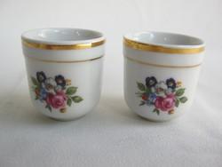 Zsolnay porcelán rózsás pohár 2 db
