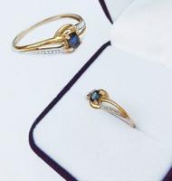Francia 18 karátos arany zafír gyűrű
