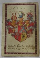 Kézzel festett nemesi címer 1608-ból,hand painted noble coat of arm 1608 Starhemberg Neuburg