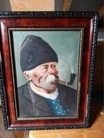 Kormos János által szignózott Öreg Pipás ember festmény