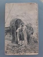 Régi képeslap 1901 hajó öltözőkabin tengerpart