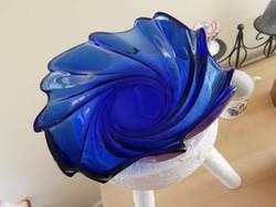 Kék üveg asztalközép, kínáló
