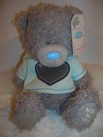 Maci - Me to You - cimkével - új - hímzett talppal - jégkék kapucnis pulcsi - 20 x 14 cm