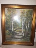 Jelzett festmény erdőrészlet