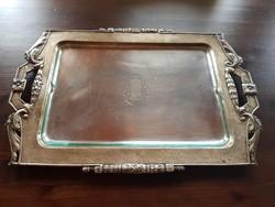 Antik patinás, füles ezüst tálca, csiszolt üvegbetéttel, jelzett, nettó 940 gramm
