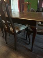 Chippendale étkező asztal + 4 szék