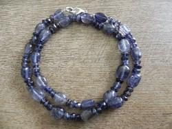 Természetes gyönyörű iolit nyaklánc 45cm