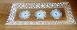 26 x 11 cm csipkemintás üveg süteményes, kínáló