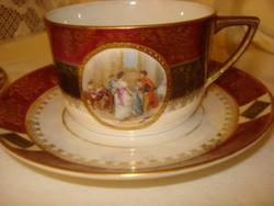 Nagyon szép bordó lüszteres porcelán jelenetes Altwien  teáscsésze