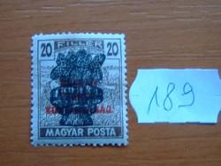 20 FILLÉR 1920 Búzakalász felülnyomat a Magyar Tanácsköztársaság Magyar Posta Arató 189#