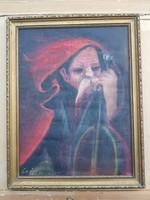 Ismeretlen festő: Öreg juhász guzlával, olaj, vászon, valószínűleg jegyzett festőtől