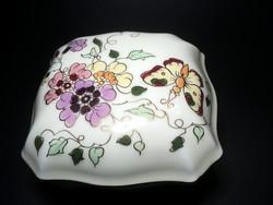 Zsolnay pillangós bonbonier /11 x 11 cm/