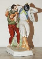 Táncoló parasztok - Herendi porcelán figura. Jelzett, eredeti, hibátlan!