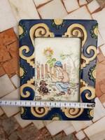 Szèp mázas kerámia, vagy biszkvit képkeret, 10x15-ös fényképnek, festménynek
