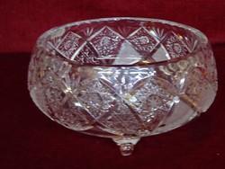 Ólomkristály üveg asztalközép. Felső átmérője 17 cm, magassága 9 cm.