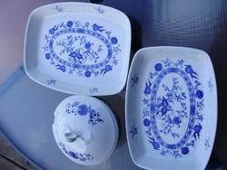 Meisseni kék-fehér hagyma mintás porcelán tálaló szett, hibátlan