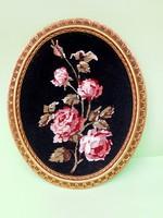 Retró rózsás gobelin kép aranyozott keretben