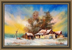 Tanyavilág  tél  olajfestmény szép keretben ingyenes házhoz szállítással