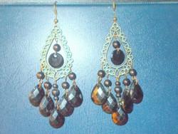 Onix köves kézműves Tibeti ezüst Fülbevaló! 8 cm !
