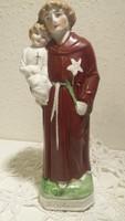 Szent Antal a kisdeddel, antik szobor, kegytárgy, 19 cm