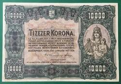 NAGYON SZÉP (VF) ÉS RITKA, NAGYALAKÚ 10.000 KORONA 1920 !