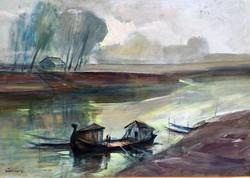 "Göldner Tibor (1929-  ) "" Bajai halászbárka... !!"