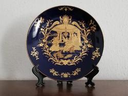 Gyönyörű szalon jelenetes kínai porcelán tányér, királykék és arany tál