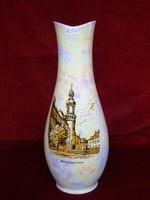 Hollóházi gyöngyházfényű porcelán váza, 31 cm magas, Sopron képpel, ritka.