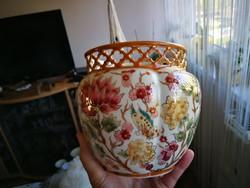 Zsolnay dús virág mintás porcelán nagy áttört kaspó