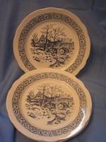 3db tájképes porcelán tányér 24 cm-es hullámos peremmel egyben eladó