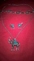 Ritka, elefántos ékszerszett:nyaklánc, fülbevaló, karkötő, új