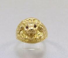 Vintage egyedi 18k oroszlan fejes ferfi gyuru