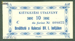 Börtönpénz 10 Forint Kalocsa ritka