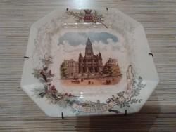 Antik Francia Sarreguemines porcelán fajansz tányér