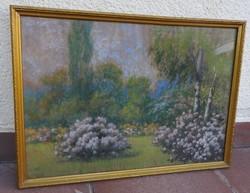 Antik festmény - pasztell kép - virágos kert