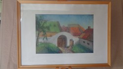 Szignós nagy pasztell festmény