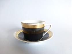 Hollóházi fekete,arany szegélyű art deco kávéscsésze