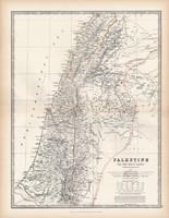 Palesztína térkép 1883, eredeti, atlasz, Keith Johnston, angol, 36 x 47 cm, Szentföld, Holt - tenger
