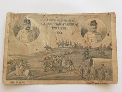 Régi képeslap 1901 Császári és királyi hadgyakorlat emlékéül levelezőlap