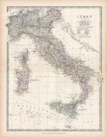 Olaszország térkép 1883, eredeti, atlasz, Keith Johnston, angol, 36 x 47 cm, Európa, Szardínia, dél