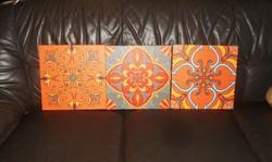Mandala stílusú 3 db TEXTILKÉP  narancs színvilágban 30 x 30 cm x 2 cm mély