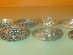 Antik  Tibeti ezüst gyűrű csomag 10 db-os 8-as méret