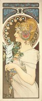 Alfons Mucha: Kankalin és Toll - Toll. Kitűnő minőségű reprint nyomat paszpartuval